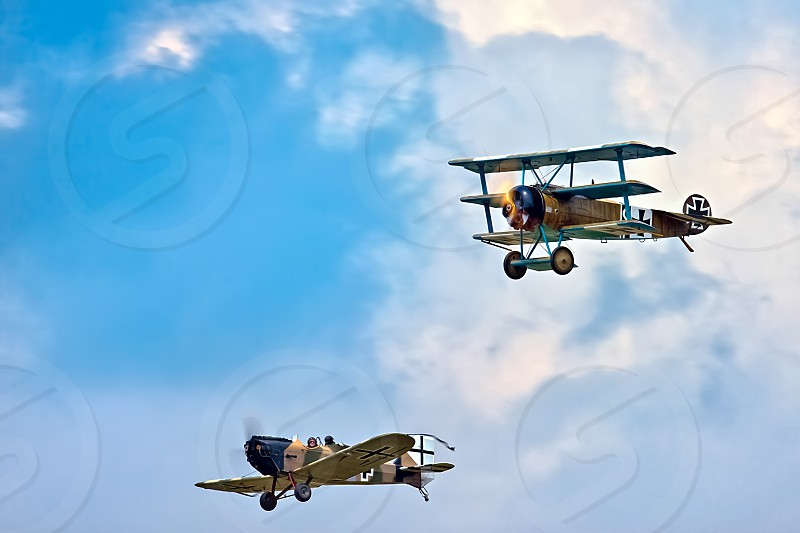 Fokker Triplane  and Junkers CL1 (Great War Team) Aerial Display at Biggin Hill Airshow photo