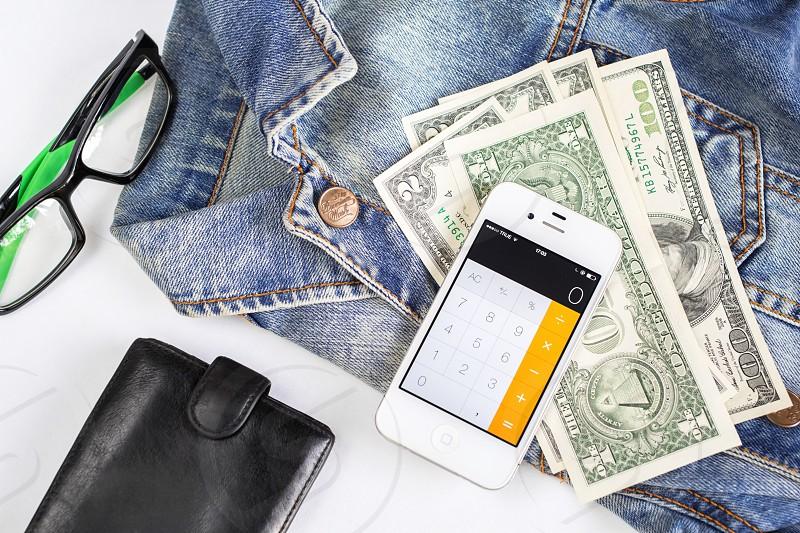 money iPhone clothes glasses wallet photo