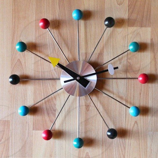 Mid-century modern circular wall clock photo