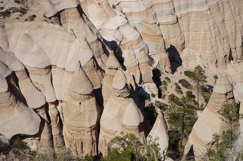 pinnacles cones sandstone trees above overhead striations shadows pointed tops erosion geology geography Kashe-Katuwe New Mexico photo