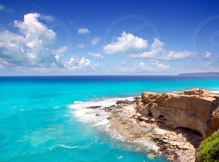 Cala en Baster in Formentera mountains north coast Spain photo