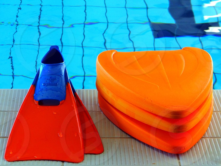 Pool flippers and kick boards photo