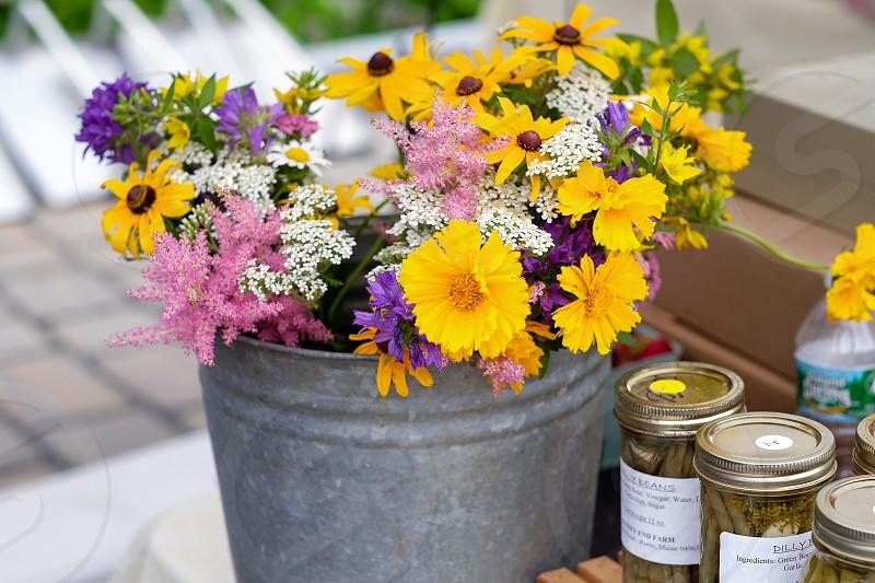 Farmer's market wildflowers; Belgrade Lakes Maine; black-eyed Susans; daisies  photo