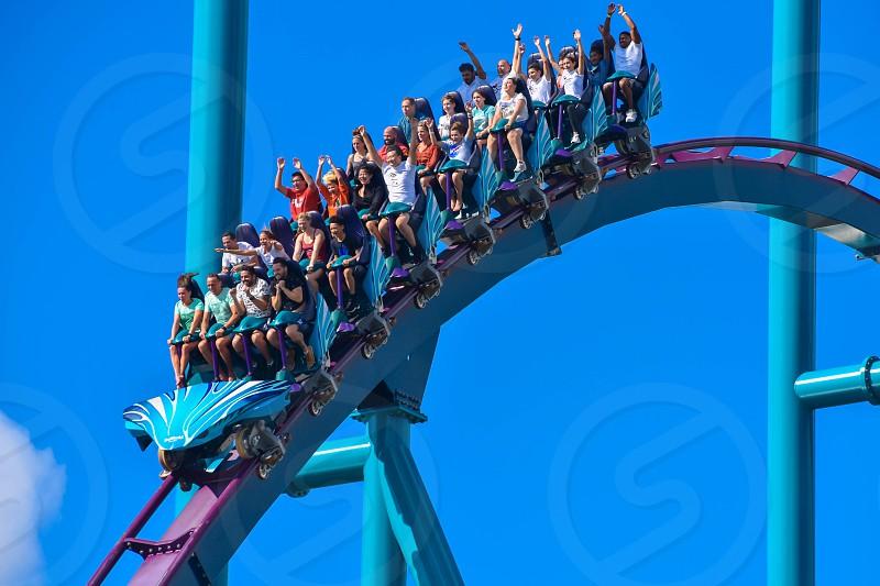 Orlando Florida . February 26  2019. People having fun amazing Mako rollercoaster at Seaworld Theme Park (11) photo