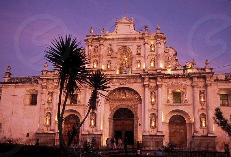 the church cathedral de Santiago in the old town in the city of Antigua in Guatemala in central America.    photo