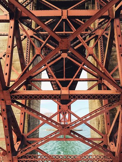 red metal bridge frame photo