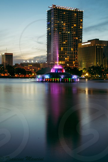 Orlando Florida city downtown lake night photo