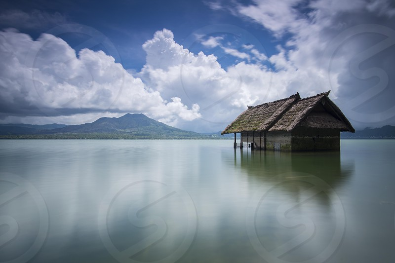 Old Sunk House in Lake Batur Bali Indonesia photo