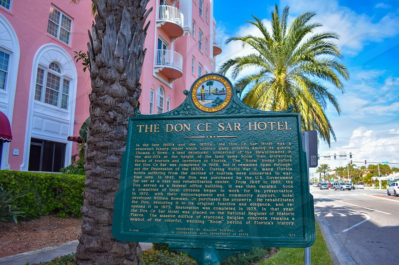 St. Pete Beach Florida. January 25 2019. The Don Cesar Hotel historic sign. The Legendary Pink Palace of St. Pete Beach. photo