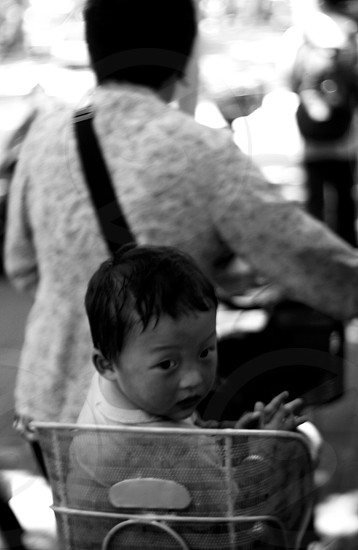 Child looking back from bicycle seat. - Shanghai China photo