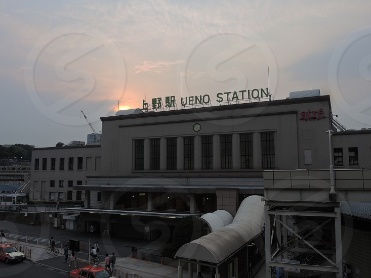 sunset Ueno Station in Japan photo