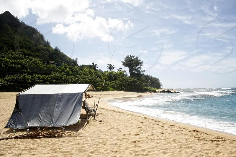 Hawaii Islands Kauai Beach Tent Fishing photo