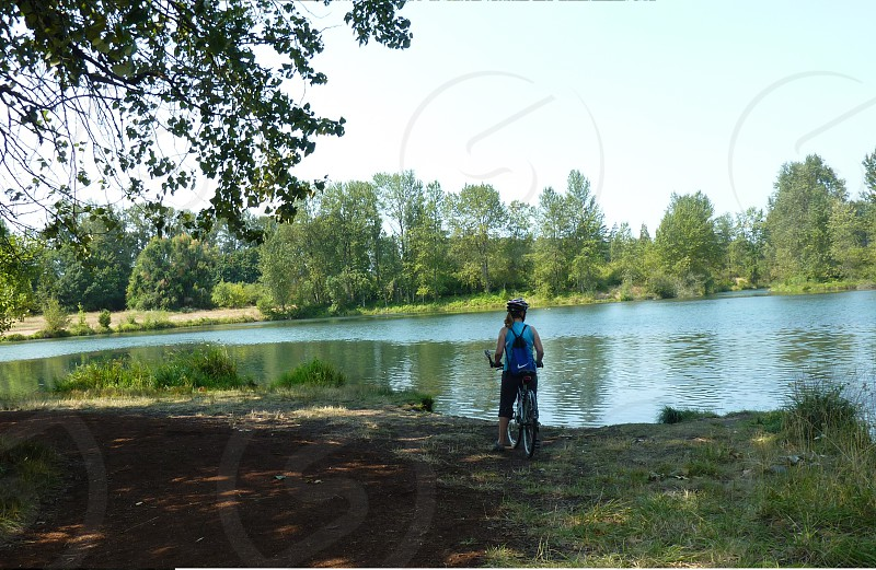 bicycling in the nature park photo