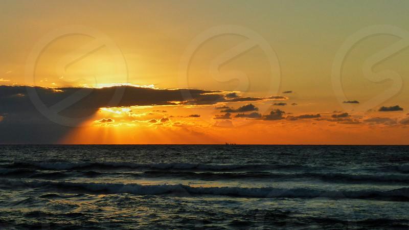 Beautiful sea view at sunset in Netanya. photo