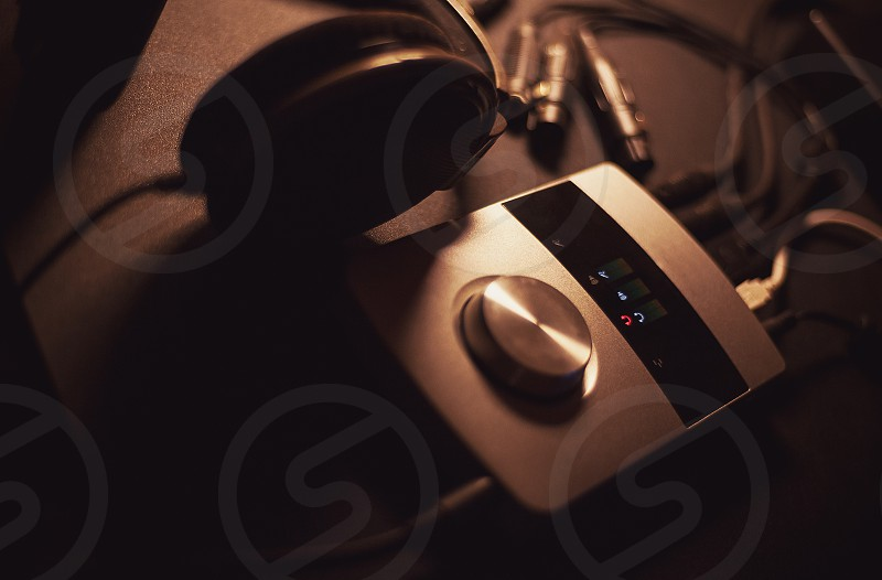 Audio interface and headphones as modern recording system mobile and small. photo
