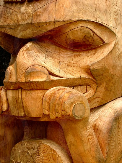 cedar totem first nations carved british columbia prince rupert north american indian west coast art  photo