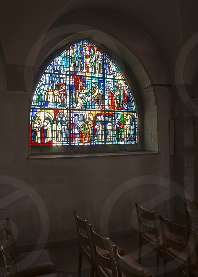 windows from inside catholic church in Luxembourg photo