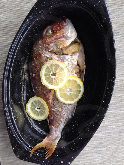 red and silver fish with lemon slice photo