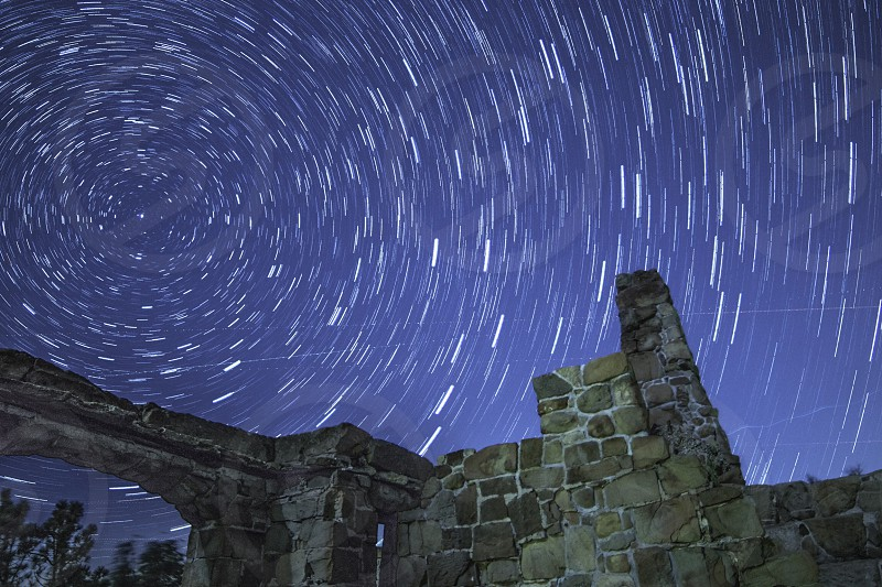 Star trails night time astrophotography castle adventure California nature  photo