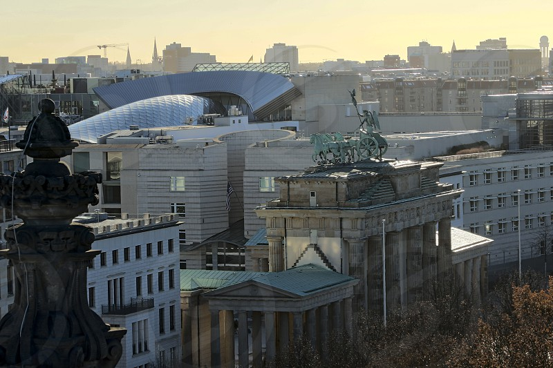 Brandenburg Gate - Berlin as seen from the roof of the German Reichstag. photo