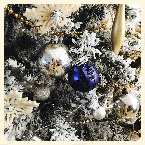 Christmas ornaments on a tree photo