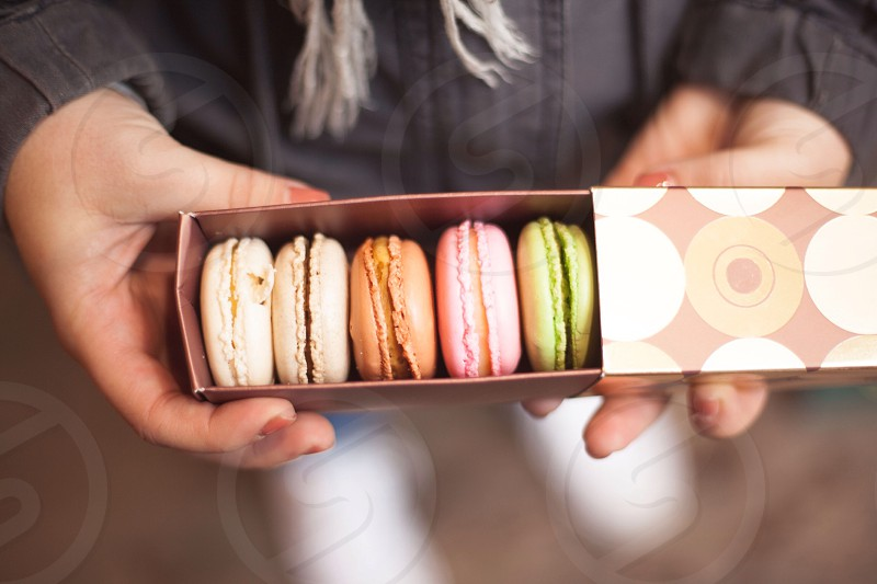 Hands holding a pretty box of macaroons  photo