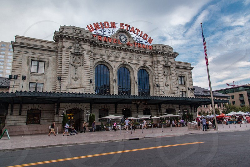 Denver Colorado Union Station rail transport center located in downtown area. photo