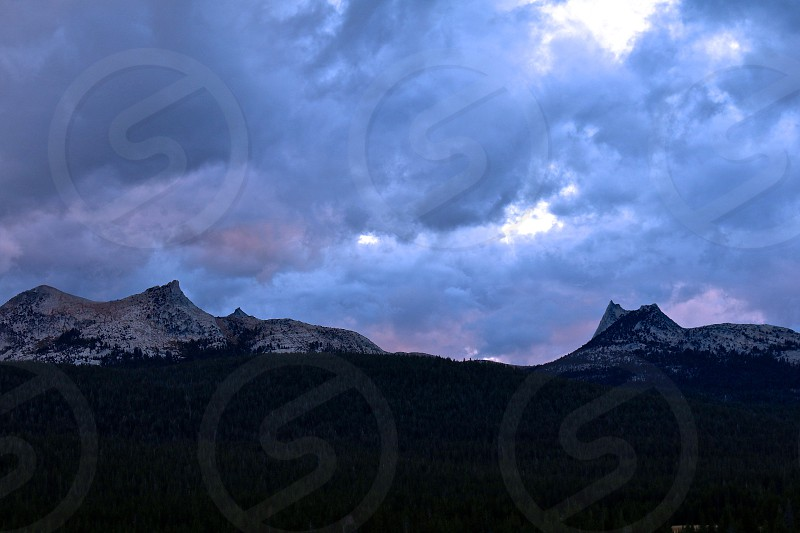 Tuolumne at sunset while a storm rolls in photo