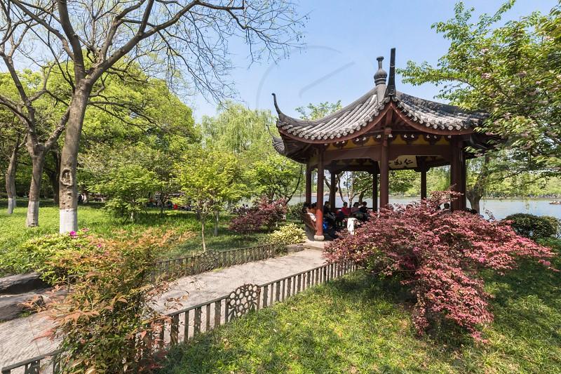 Hangzhou China West Lake Park pagoda spring photo