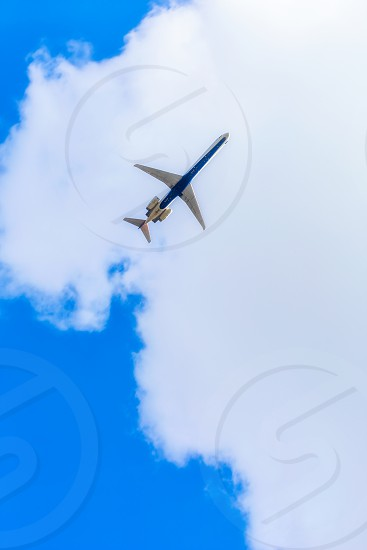Airplane photographed from a low point of view photo