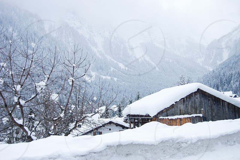 snowy villages snowy mountains photo