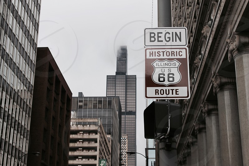 Route 66 fog Chicago Sears tower Willis tower America USA photo