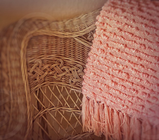 Color of the Year - Coral Coral Colored Unique  Handmade Knobby Throw on Vintage Wicker Chair  photo