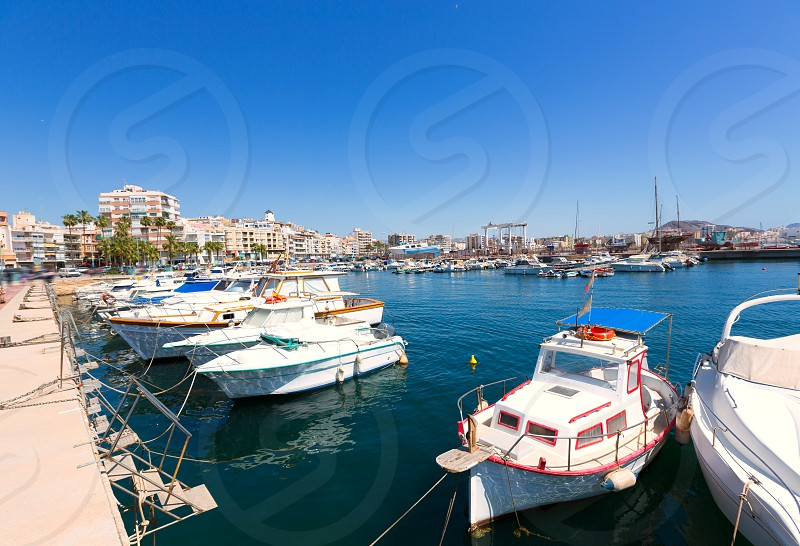 Aguilas port marina village Murcia in Spain at Mediterranean sea photo
