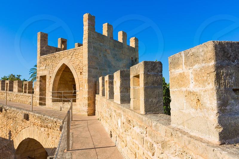 Alcudia Old Town fortress wall in Majorca Mallorca Balearic island of Spain photo