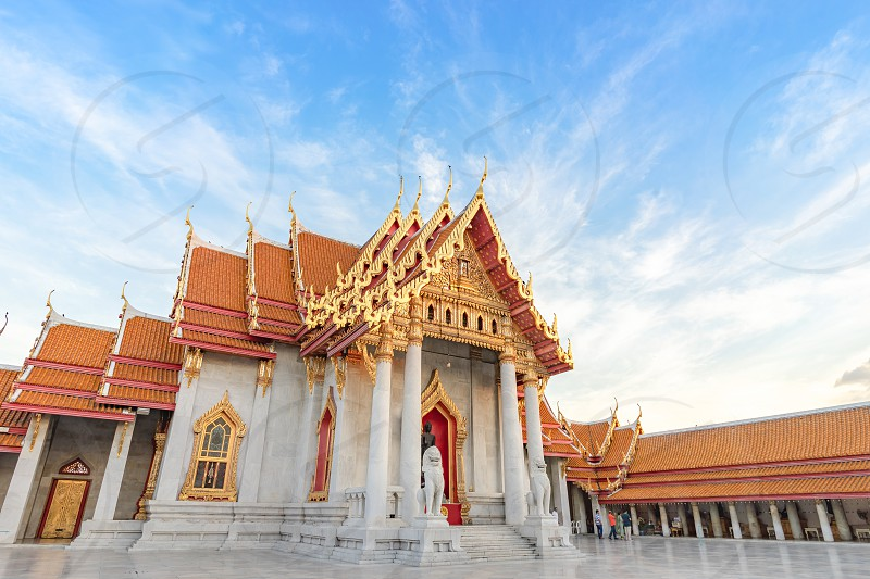 Thai Marble Temple (Wat Benchamabophit Dusitvanaram) with copy space in Bangkok Thailand photo