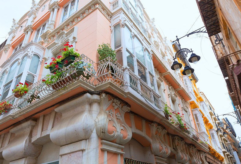 Cartagena modernist buildings downtown in Murcia Spain photo