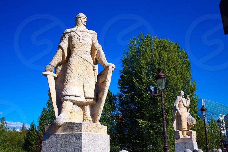 Burgos San Pablo bridge Statues over Arlanzon river in Castilla Spain photo