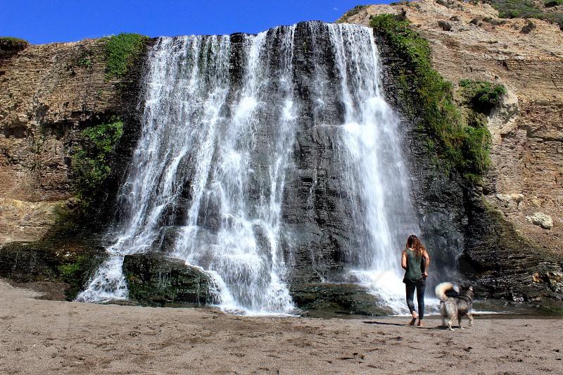 Waterfall nature husky dog woman girl hike photo
