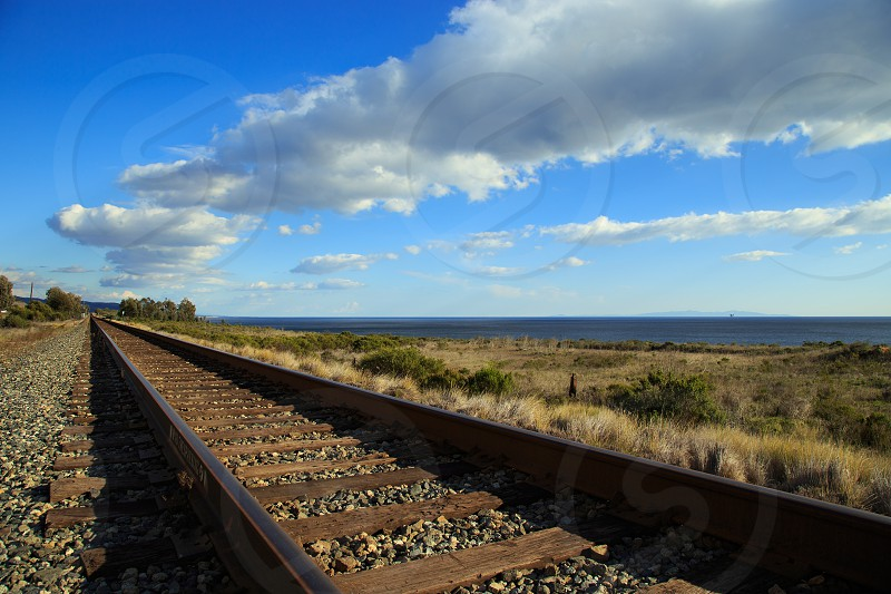 Railway along the coast of Santa Barbara California. photo