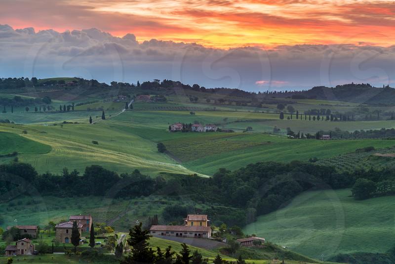 VAL D'ORCIA TUSCANY/ITALY - MAY 21 : Farmland in Val d'Orcia Tuscany on May 21 2013 photo