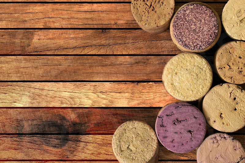 Wine corks on the wooden table  photo