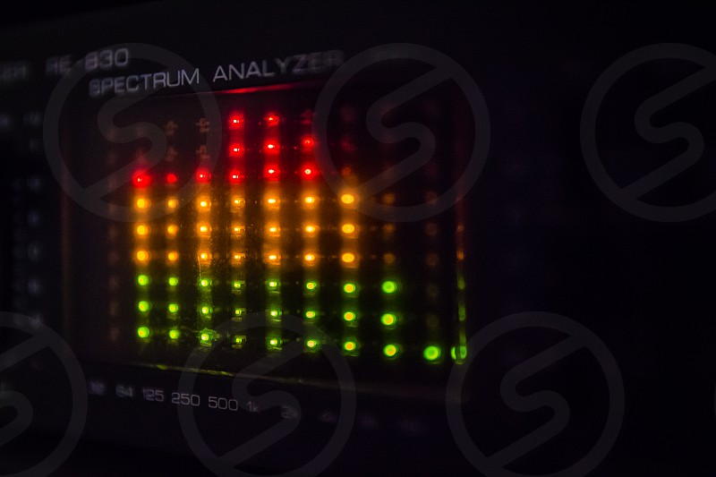 Graphic equalizer bars on an audio system - Close Up Selective Focus photo