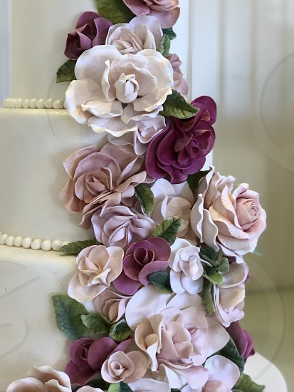 To Have and to Hold Request The Wedding Cake In Beautiful Pastel Purples and Pinks Cake Weddings Wedding  social event Cake Roses Pastels Purples Unique weddings wedding Purples pinks pastels cake baked goods beautiful food ceremony desert ceremony flit flower art flower arrangement photo