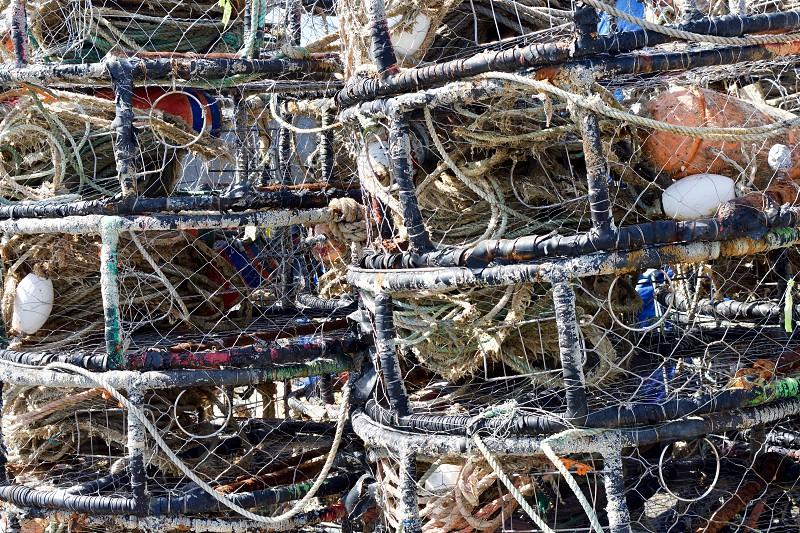 Crab pots in storage photo