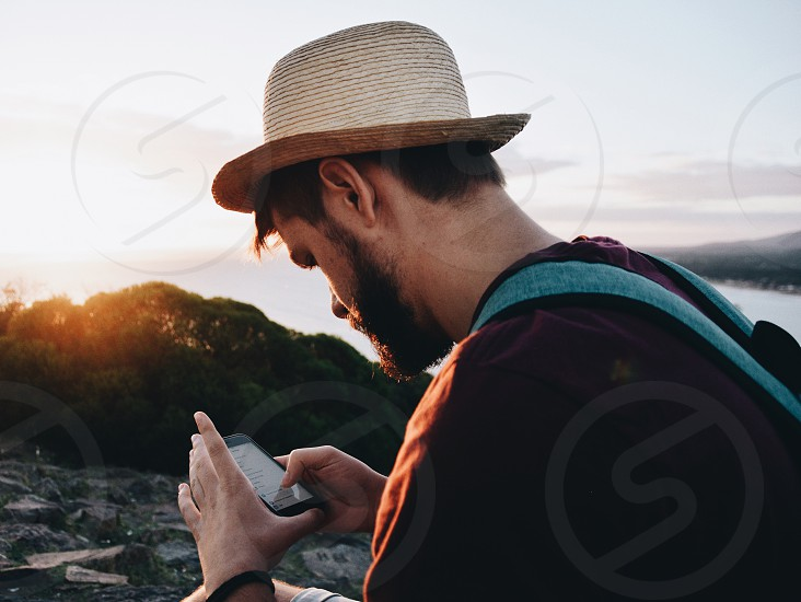 Email social media cellphone mobile apps sunset man connection photo