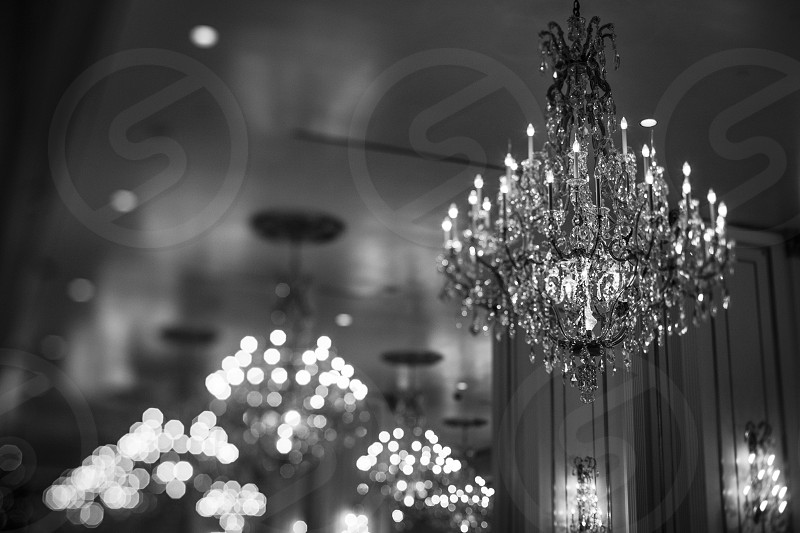 lights sparkle chandelier French  photo