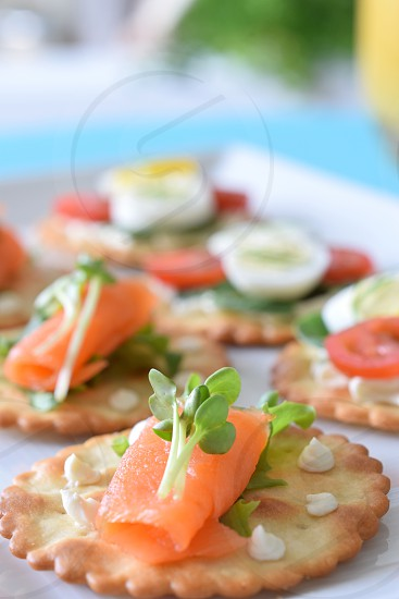 Favorite Foods Canape Smoked Salmon Party Hors d'oeuvre photo