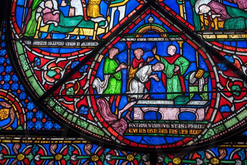 Stained Glass Window in Canterbury Cathedral photo