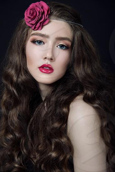 fashion style beauty beautiful studio portfolio girl face eyes lips photo